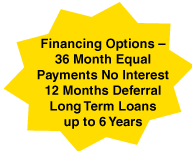 Financing Options –36 Month Equal Payments No Interest 12 Months Deferral Long Term Loans up to 6 Years